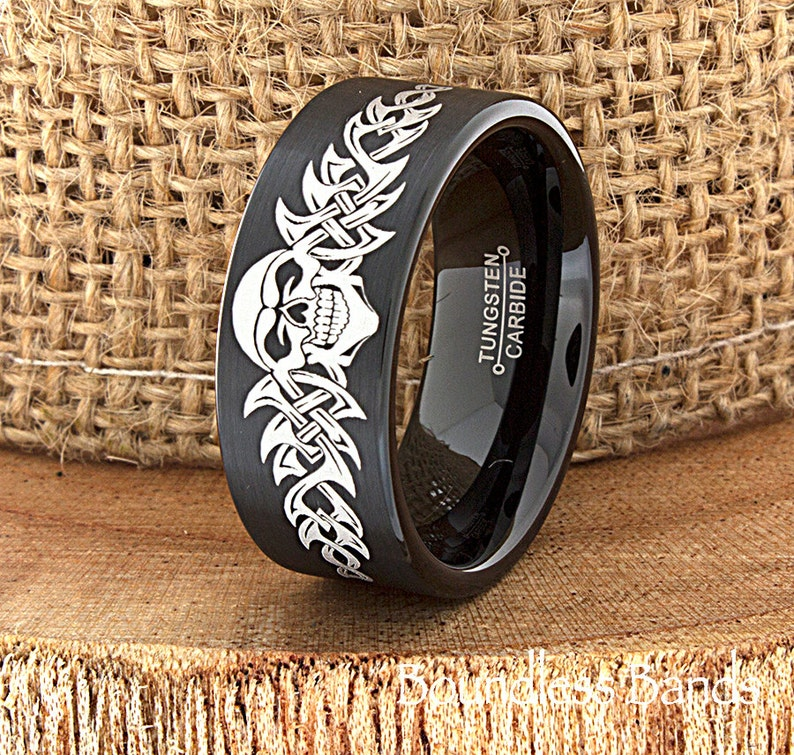 1a71ea05b Skull Wedding Band Skull Ring Biker Wedding Band Mens Tungsten | Etsy