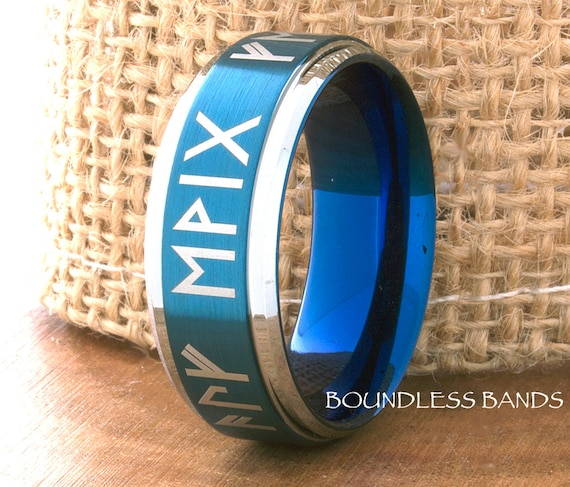 Tungsten Wedding Band Black Blue Two Tone Any Initials Etsy