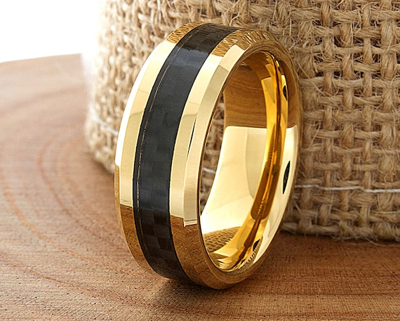 Carbon Fiber Tungsten Wedding Ring Yellow Gold Mens Wedding Etsy
