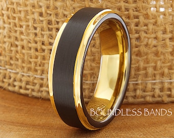 Tungsten Wedding Ring Band Black 7mm Yellow Gold Tungsten Ring Anniversary Ring Promise Ring Engagement Band Comfort Fit Free Engraving