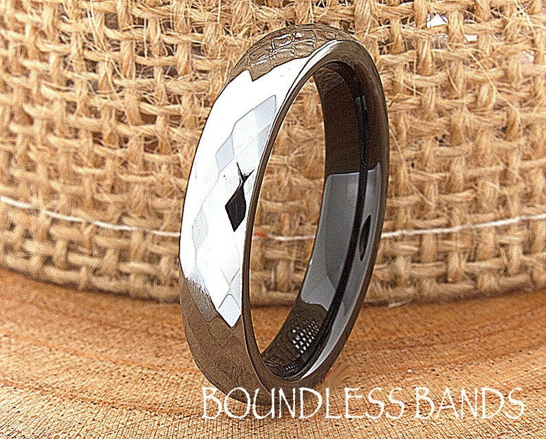 Tungsten Wedding Band White Faceted Diamond Cut High Polished 4mm His Hers Black Mens Womens Ring Set Custom Engraved Anniversary Two Tone