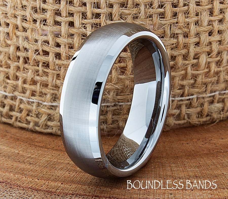 Dome Shaped Bands: Tungsten Wedding Ring Dome Shaped Brushed Polished Edges Mens