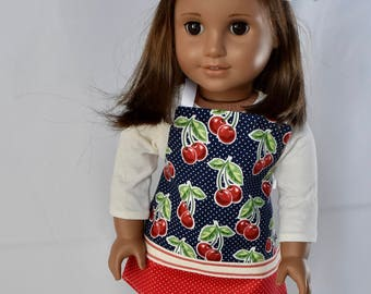 A cheery cherry apron and chef hat for your 18 inch doll