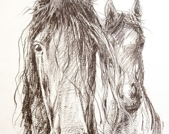 Charcoal horses painting, equine art, horse Illustration, black and white horse, art print, horse decor, farm art, barn decor, horse gift,