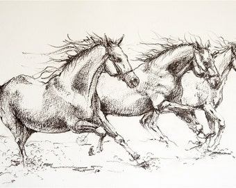 Charcoal running horses drawing, equine art, horse Illustration, b/w horses, art print, horse decor, farm art, barn decor, horse gift,