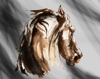Watercolor horse painting, equine art, horse Illustration, black and white horse, art print, horse decor, farm art, barn decor, horse gift,