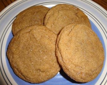 Homemade Ginger Cookies - Crispy on the Outside and Soft on the Inside (2 Dozen)