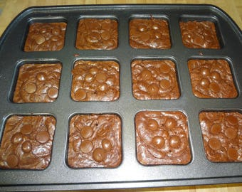 Ultra Decadent Homemade Dark Chocolate Brownies (1 Dozen)