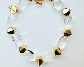 Crystal Quartz and Vintage Brass Necklace