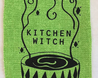 KITCHEN WITCH -- Screenprint Sew-on Patch -- Cooking Kitchen Patch