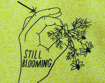 STILL BLOOMING Screenprint Sew-on Patch -- Chamomile Floral Hand Patch
