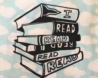 I READ Screenprint Sew-on Patch -- Books Reading Reader patch