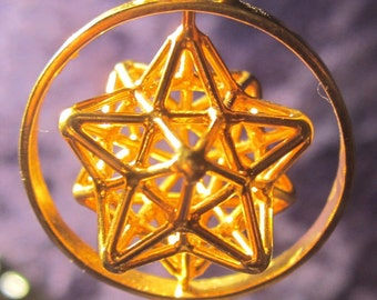 Solar Spirit Star with Spin ※Sacred Geometry 3D Jewelry Sterling Silver /Gold *Dodecahedron Star *Pentagram,Phi Harmony,Golden ratio mandala