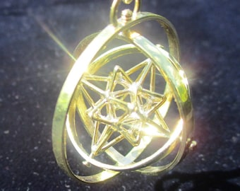 Heart Star TRIPLE-SPIN: Sacred Geometry 3D Jewelry, Silver Gold pendant, Cuboctahedron Stargate, golden ratio, Lovers Gift 3D Flower of Life