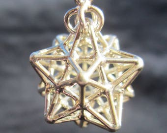 Solar Spirit Star ※ 3D Sacred Geometry Pendant, Silver Gold Jewelry, Dodecahedron Star 3D Pentagram Magic, Phi Harmony golden ratio Sun Star