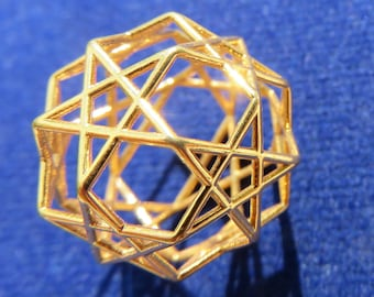Solar Magic 12 X Pentagram 3D-printed Sacred Geometry Jewelry, Dodecahedron, Brass Silver Gold Pendant, Phi ratio golden mean Harmony