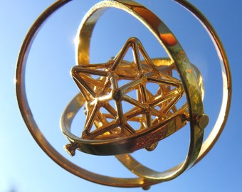SOLAR Star 3D SPIN ※ 3D Sacred Geometry Pendant, Spinner Silver Gold Jewelry, spinning Dodecahedron Star 3D Pentagram Magic, Sun Spirit [O]