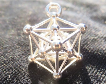Metatrons Cube 3D ※ incl. MerKaBa Octahedron Tantric Star; 925 Sterling Silver Gold pendant, Sacred Geometry Jewelry, golden mean Harmony