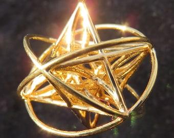 Orbital Star of Life ™ : MerKaBa + Flower of Life Triquetra ~ Celtic Knot, Tantric Unity Star, Sacred Geometry 3D Jewelry, StarGate pendant