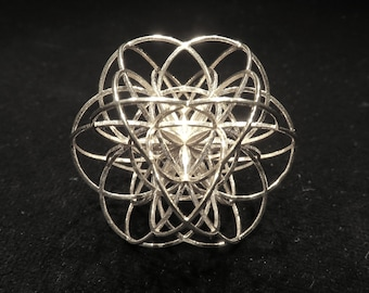 3D Seed of Life ※ etheric Sacred Geometry gift, fine 3D printed pendant, Seed of Life, Creation Mandala, Gold Silver Jewelry