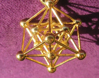 Metatrons Cube 3D ※ with MerKaBa, Octahedron, Tantric Star; 925 Sterling Silver Gold pendant, Sacred Geometry Jewelry, golden mean Phi [O]