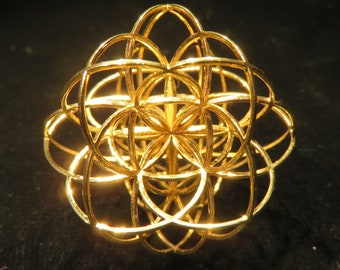 Seed of Life 3D Sacred Geometry pendant, magical 3D printed Jewelry gift and Flower of Life Creation Mandala, laser cut Silver Gold necklace