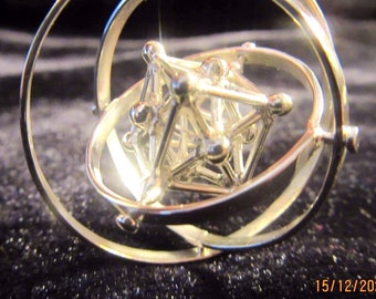 Metatrons Cube 3D Spin pendant ※ Sacred Geometry Jewelry, w. MerKaBa, Octahedron, Tantric Star; 925 Sterling Silver Gold Brass, golden Phi
