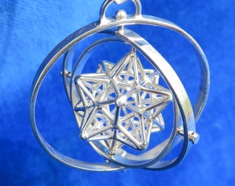 SOLAR Star 3D SPIN ※ 3D Sacred Geometry Pendant, Spinner Silver Gold Jewelry, spinning Dodecahedron Star 3D Pentagram Magic, Sun Spirit Love