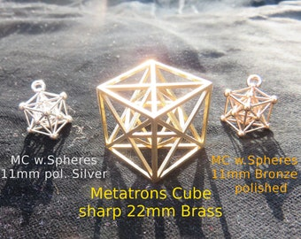 Metatrons Cube 3D ※ with MerKaBa, Octahedron, Tantric Star; 925 Sterling Silver Gold pendant, Sacred Geometry Jewelry, golden mean Harmony