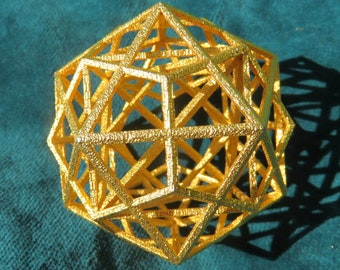 Platonic Solids Code: Metatrons Cube 3D, MerKaBa + Octahedron + Cube + Tantric Star + Dodecahedron Icosahedron, Silver Gold Sacred Geometry