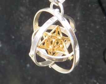 Tantric Star 3D-SPIN : MerKaBa + Octahedron pendant / Earrings, StarGate 3D Sacred Geometry, golden ratio Jewelry Gold Silver Brass [M2O]