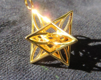 Star of Life™: 3D MerKaBa +Flower of Life +Triquetra *Tantric Unity Star with Celtic Knot; Sacred Geometry 3D Pendants, 5D StarGate Geometry