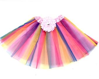 Rainbow Tulle Gem Flower Embellished Tutu one size fits newborn - little girl