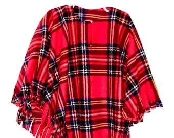 Girl's Fleece Red Tartan Plaid Poncho