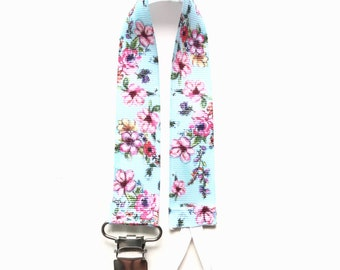 Blue Floral Flowers Soother/Pacifier Clip Toy/Bottle/Sip Cup Leash