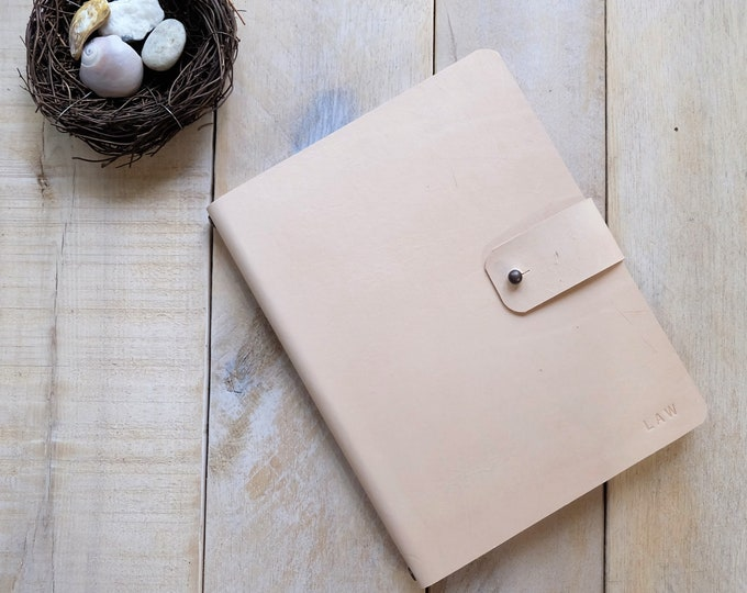 Leather Sketchbook with Stud Closure and Rivet Details