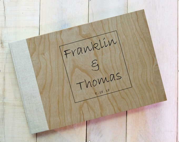 Wedding Logo Wood and Linen Wedding Guest Book