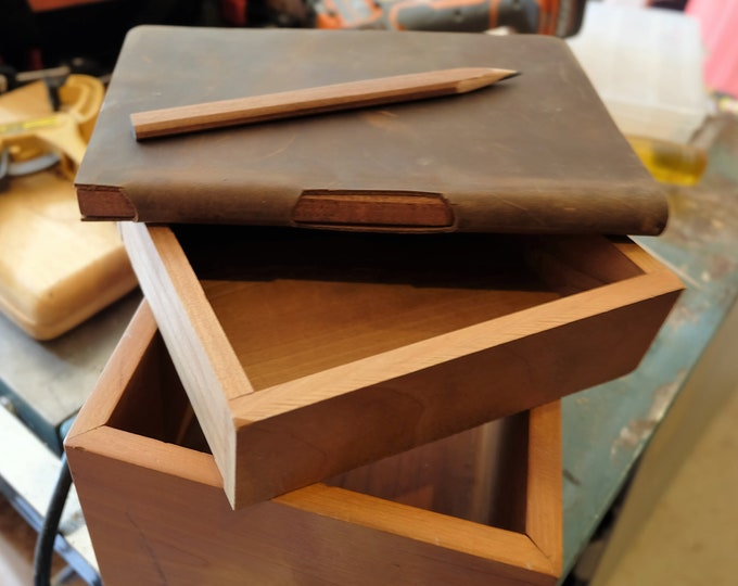 Carpenter Sketchbook, Lined Journal, Dot Grid or Graph Paper with Built-In Wood Carpenter's Pencil