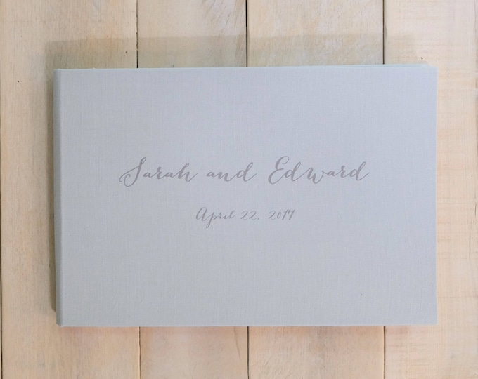 Linen Guest Book with Watercolor Paper Pages