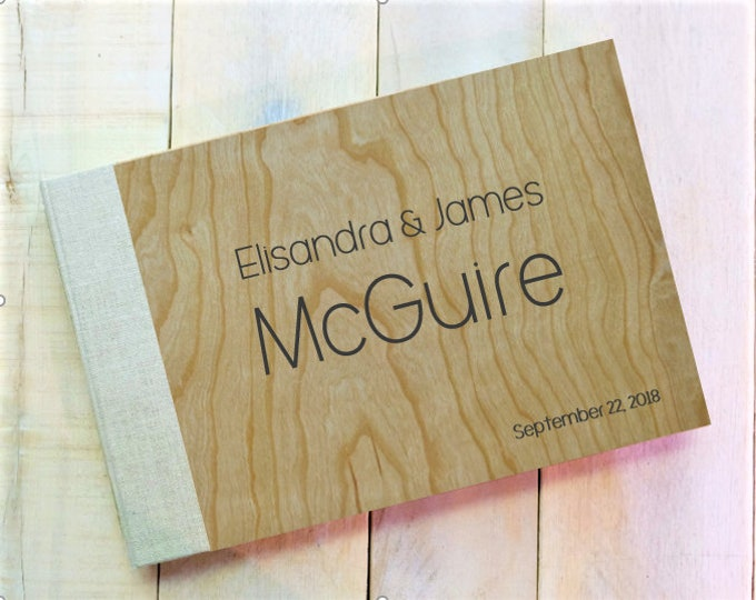 Wood and Linen Personalized Wedding Guest Book