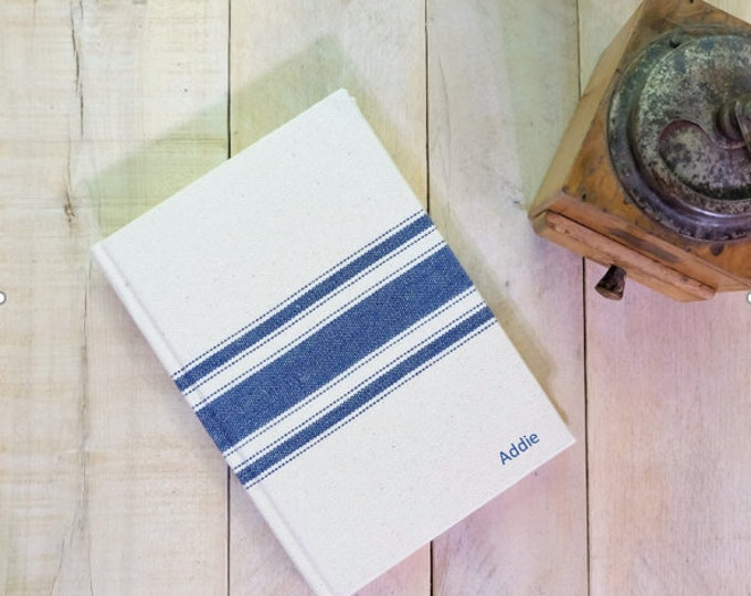 Personalized Vintage Style Grain Sack Striped Journal or Sketchbook