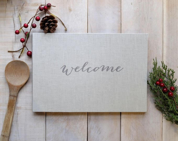 "French Country Linen Guest Book ""Welcome"" in Popular Script"