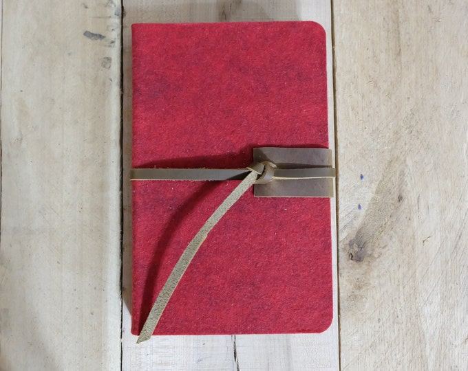 Wool and Leather Journal or Sketchbook in Red