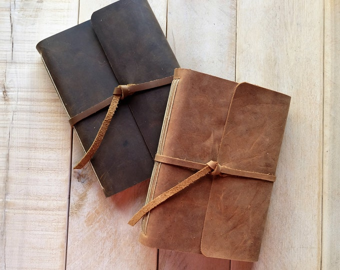 Leather Journal, Rustic Style, in Lined or Unlined Paper, Personalization Included