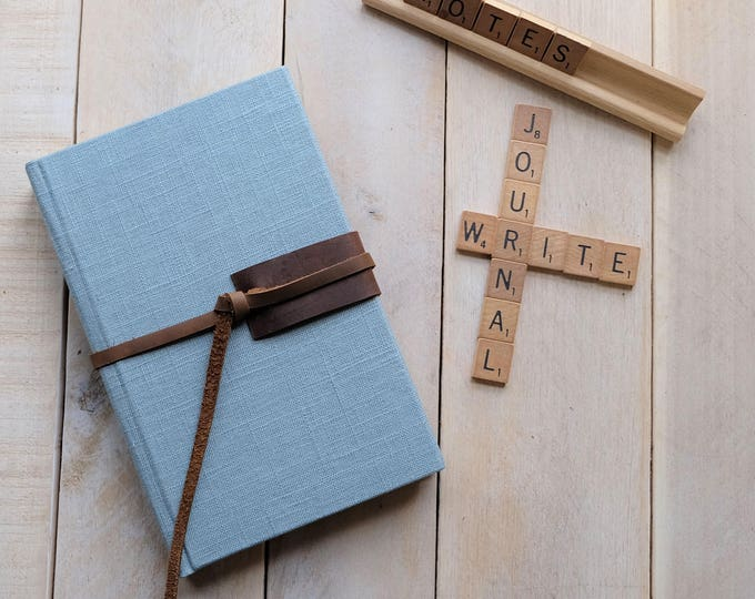 Linen and Leather Sketchbook with Leather Tie in Sky Blue Linen