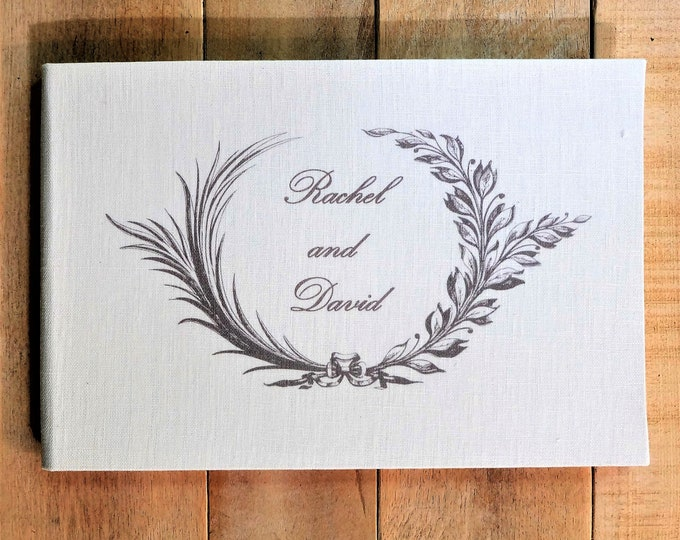 Personalized Linen Wedding Guest Book with Traditional Olive Leaf Wreath