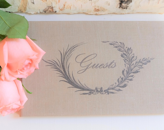 Olive Wreath Personalized Wedding Guest Book
