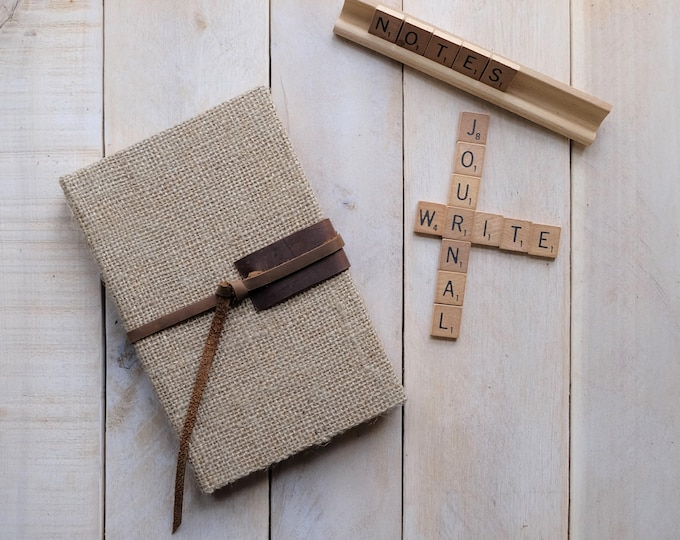 Burlap Sketchbook with Leather Tie in Natural Burlap