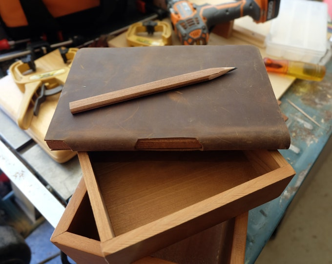 Rustic Leather Carpenter Sketchbook, Lined Journal with Built-In Wood Carpenter's Pencil Dot Grid or Graph