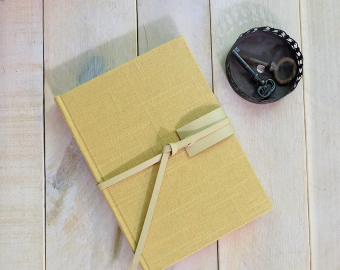 Linen Journal or Sketchbook in Sea Oats Yellow, with Custom-Colored Leather Tie